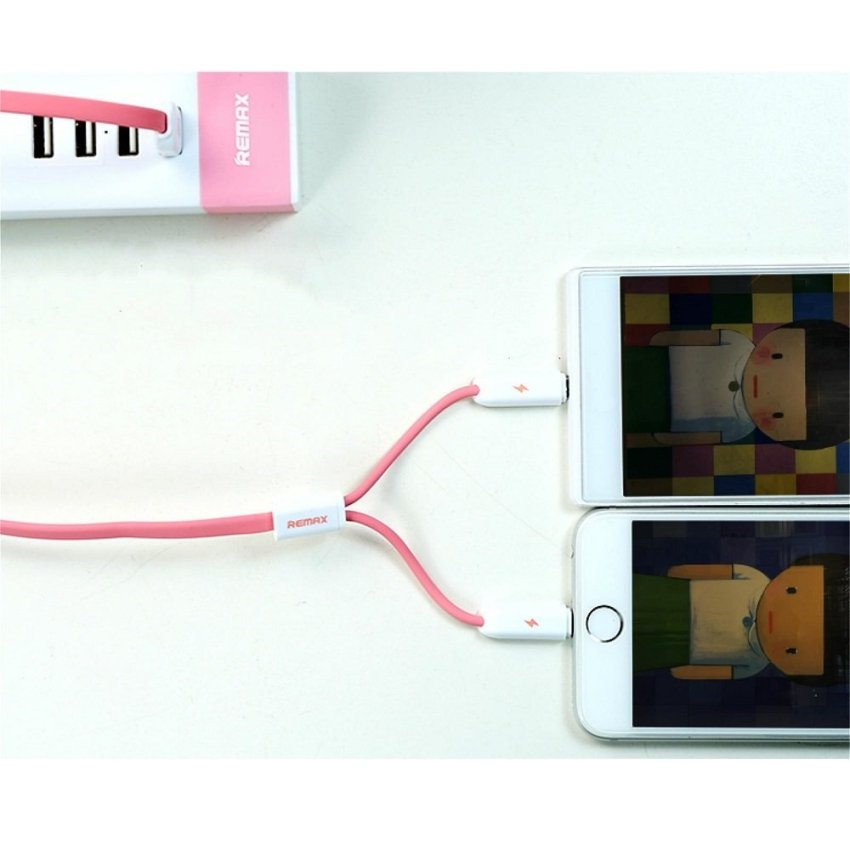 Remax High Speed 2 in 1 Micro Usb - Lightning Pin for Smartphone and iPhone 5/6 - RC-025t - Putih