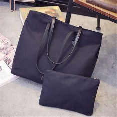 Retro Canvas Tote Bag Women Casual Large Capacity Handbag Fashion Bag Shoulder Bag 2 PCS (Black) - Intl