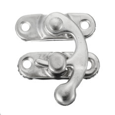 Retro Swing Hook Clasp For Leather Craft Bag Wood Crafting Case Box With Screws Silver Right - Intl