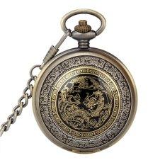 Retro Vintage Bronze Dragon Phoenix Pattern Flip Up Quartz Pocket Watch With Chain