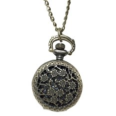 Retro Vintage Sunflower Hollow Carved Pattern Flip Up Quartz Pocket Watch With Chain (Intl)