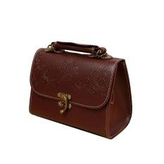 Retro Women Crossbody Bags Floral Carve PU Leather Shoulder Messenger Bag Handbag Tote Black / Burgundy - Intl - Intl