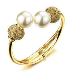 Richapex Europe Smooth Copper Shell Pearl Hyperbole Minimalist Openning Charm Bangle Bracelet - Intl