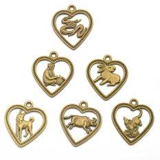 RIS 12Pcs Antique Bronze Chinese Zodiac Horoscope Charms Pendant Amulet - Intl