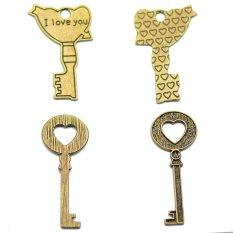 RIS 9 Pcs Antique Bronze Large Key Necklace Pendant Charms Heart Religion Love - Intl