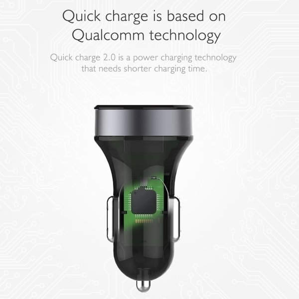 ROCK 5V 2.0A Max Turbo Bullet Quick Charge 2.0 USB Car Charger Adapter for iPhone 6 Plus & 6s Plus / iPhone 5 & 5S, Samsung Galaxy S6, LG, HTC Blackberry(Grey) (Intl)