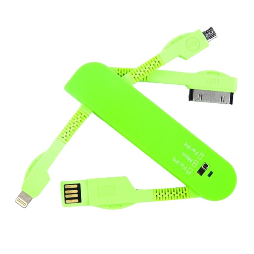 Rondaful 3 in 1 USB kabel, kawat, snur Cables for iPhone 4/5/6 Samsung/Xiaomi Mobile Phone (Green) (Intl)