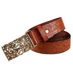 Rondaful Brown Good Quality 1PC Fashion Women Leather Belts Vintage Belt All-Match Belt For Women Metal Buckle Vintage Carved Belts - INTL