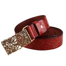 Rondaful Red Good Quality 1PC Fashion Women Leather Belts Vintage Belt All-Match Belt For Women Metal Buckle Vintage Carved Belts - INTL