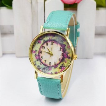 Rose Garden Female Watch Leather Strap - Blue