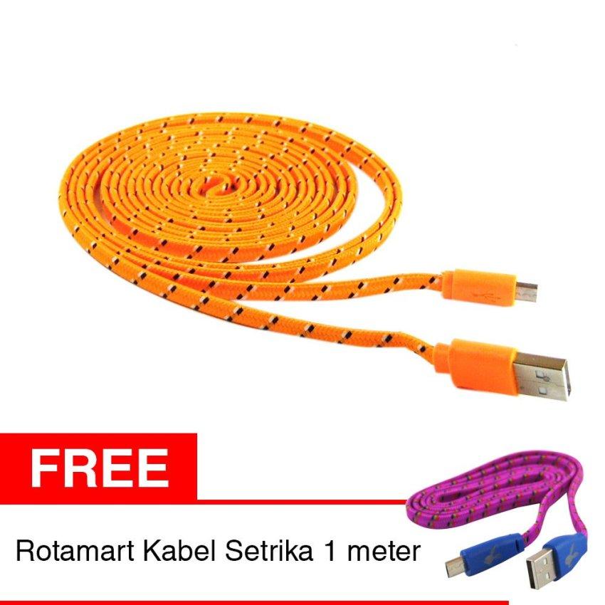 Rotamart Kabel Charging Micro USB Tali Sepatu 3 Meter - Oranye + Gratis Rotamart Charging Kabel Micro USB 1 Meter