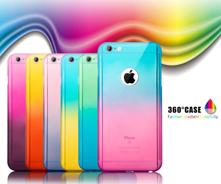 Roybens Armour PC Gradient Colorful Hard Slim Case Cover with Tempered Glass for iPhone 6 6s (Pink/Blue) (Intl)