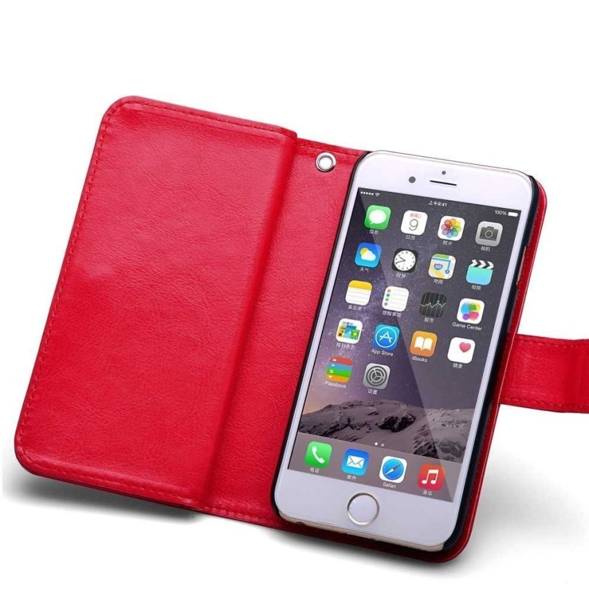 Roybens Leather 9 Card Slot Wallet Magnetic Detachable Flip Stand Case for iPhone 6 Plus/6S Plus Red (Intl)