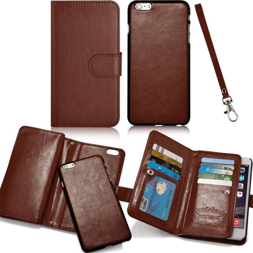 Roybens Leather 9 Card slot Wallet Magnetic Detachable Flip Stand Cover for iPhone 6/6S Brown (Intl)