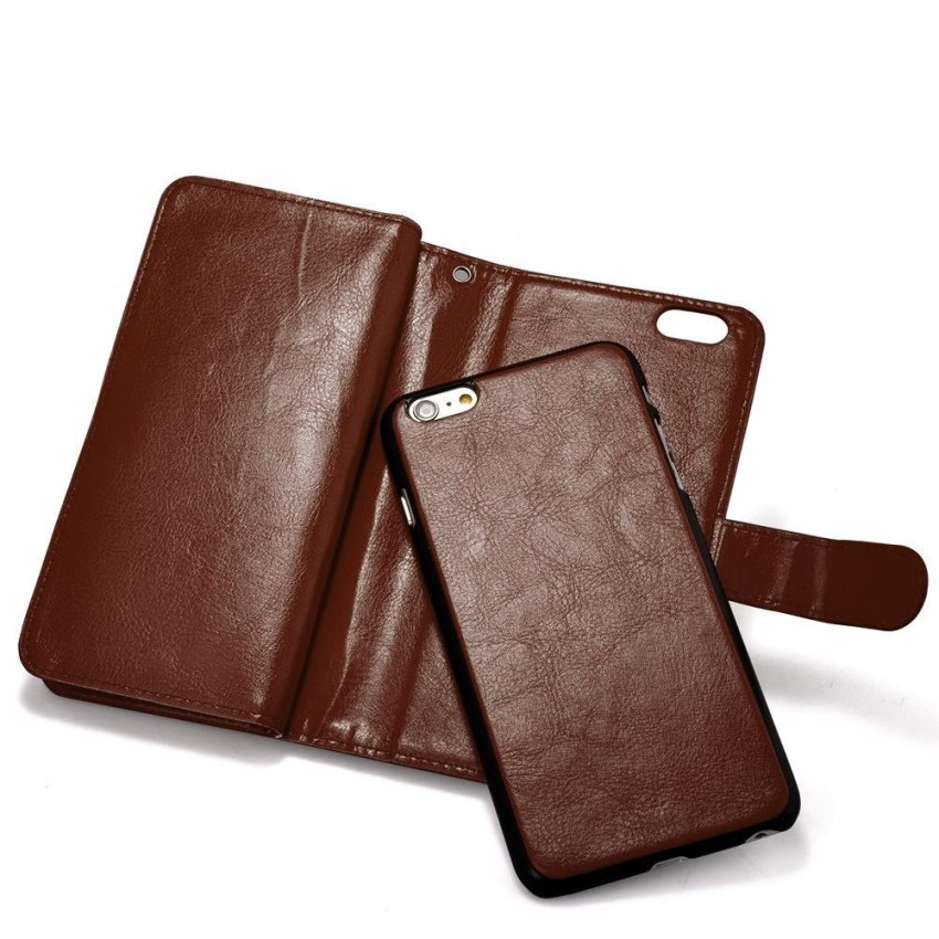 Roybens Leather 9 Card slot Wallet Magnetic Detachable Flip Stand Cover for iPhone 6 Plus/6S Plus Brown (Intl)