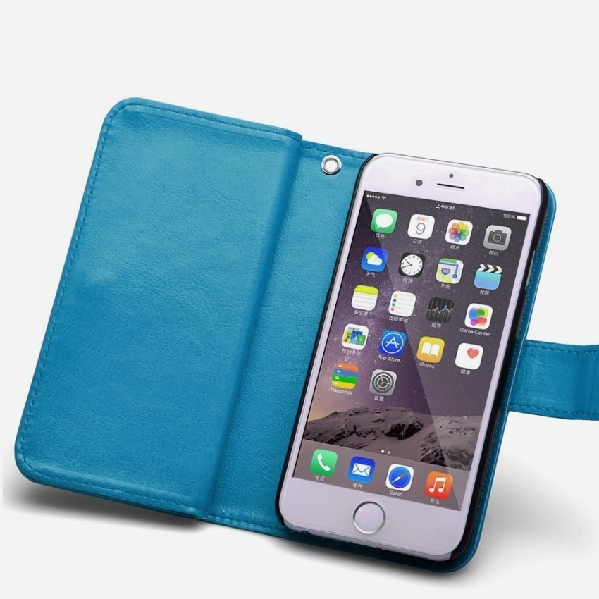 Roybens Leather Magnetic Detachable Flip Stand Cover for iPhone 5/5S Blue (Intl)