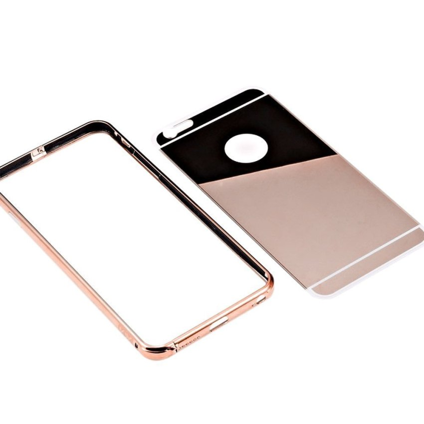 Roybens Luxury Aluminum Ultra-thin Mirror Metal Case Cover for iPhone 6 Rose Gold (Intl)