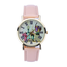 Rural Style Women Fashion Collocation Leather Watch Beige
