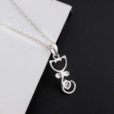 S & F Lovely Cat Shape With Bowknot Pendant 18K White Gold Plated Necklace (Silver)