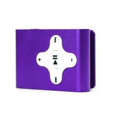 S & F Mini Clip Metal USB MP3 Player Support Micro SD / TF Card Music Media (White / Purple)