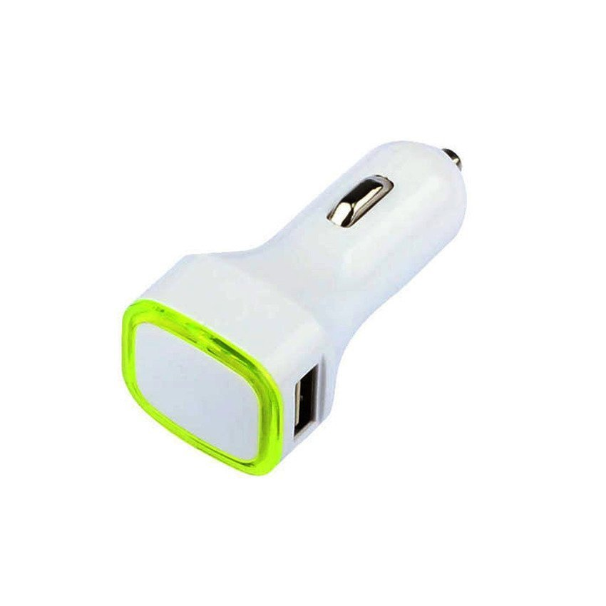 S & F Universal Double USB Port Car Charger LED Adapter For iphone Samsung HTC Green (Intl)
