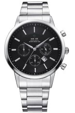 S & F Weide Mens Silver Stainless Steel Strap Analog Watch WH-3312 (Black) (Intl)