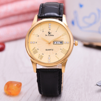 Saint Costie - Jam Tangan Pria - Body Gold - Gold Dial - Black Leather Band - SC-JK-8008G-GG