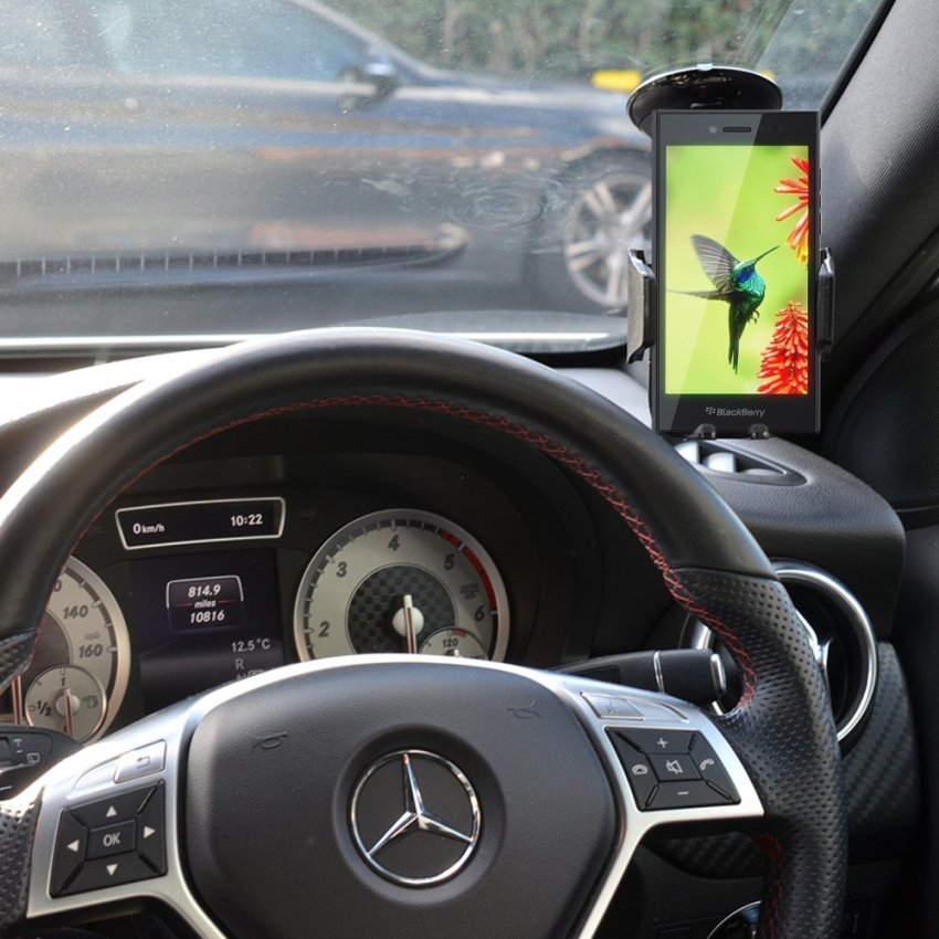 Samrick Specially Made To Measure 360 Degree Rotation Car Windscreen/Dashboard Mount/Holder With One-Step Mounting Technology for Blackberry Leap (Black) (Intl)