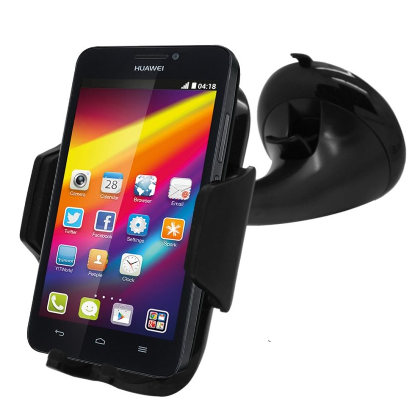 Samrick Specially Made To Measure 360 Degree Rotation Car Windscreen/Dashboard Mount/Holder With One-Step Mounting Technology for Huawei Ascend G620 (Black) (Intl)