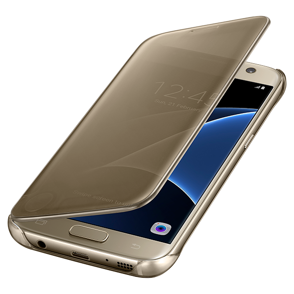 Samsung Clear S-View Flip Cover Case Original for Galaxy S7 Edge - Gold