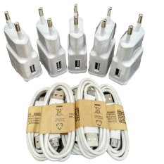 Samsung Travel Charger Galaxy S4 / Tab 3 2A Adapter + Micro USB Cable - Putih - 5 Buah
