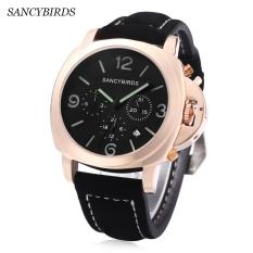 SANCYBIRDS FY955 Men Quartz Watch Calendar Luminous Pointer Water Resistance Wristwatch (Gold)