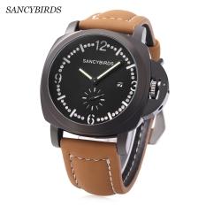 SANCYBIRDS FY969 Men Quartz Watch Calendar Luminous Pointer Artificial Diamond Dial Wristwatch (Black)
