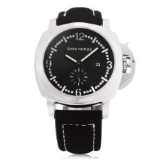 SANCYBIRDS FY969 Men Quartz Watch Calendar Luminous Pointer Artificial Diamond Dial Wristwatch (White)