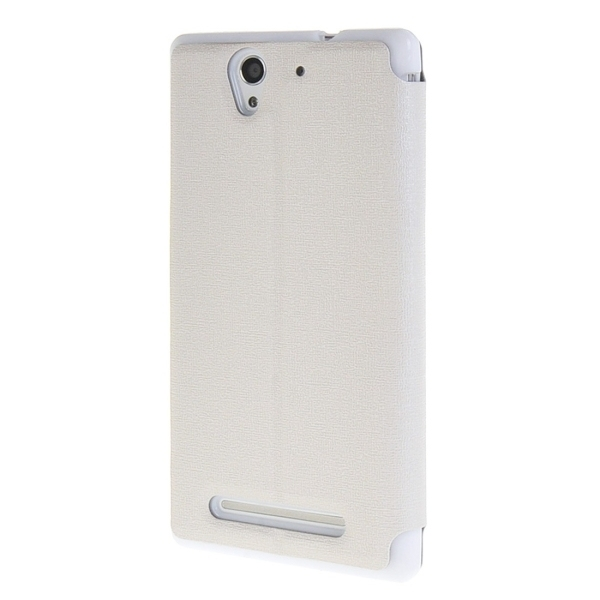 Sand Texture Leather Flip Cover for Sony Xperia C3 (White) (Intl)