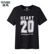 Semir 2016 Summer New Men Korean Casual Letter Cotton Crew Neck Short Sleeve T-Shirts (Charcoal)