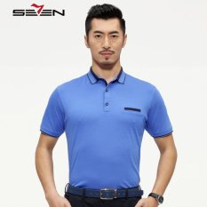 Seven Brand 100% Cotton Men Solid Color Polo Short Sleeve T Shirts Blue (Intl)