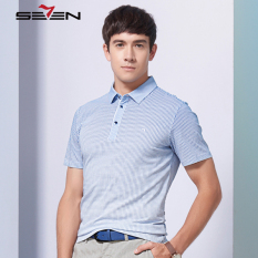 Seven Brand Men Top T Shirt Polo Slim Fit Plaid Printed Casual Business Blue - Intl