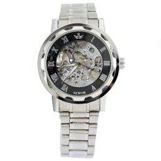 SEWOR Men Skeleton Mechanical Watch Stainess Steel Steel Hand Wind Watches Transparent Steampunk Silver Black