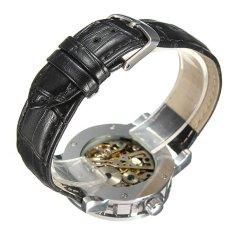 SEWOR Men Skeleton Transparent Black Leather Quartz Wristwatch (Intl)