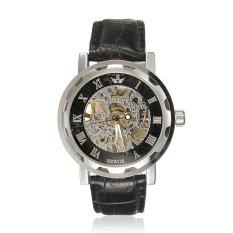 SEWOR Men Sport Skeleton Transparent Black Leather Quartz Wristwatch