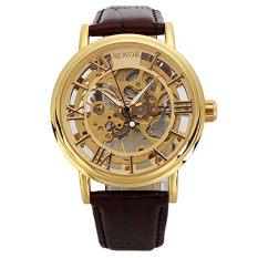 Sewor Men's Gold Skeleton Transparent Vintage Style Rectangular Watch (Intl)