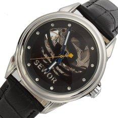 Sewor Men's Rhineston Steampunk Transparent Skeleton Mechanical Wrist Watch (Intl)
