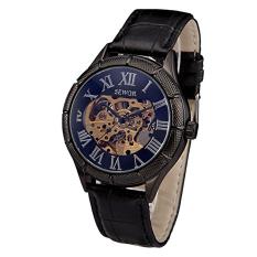 Sewor Men's Steampuk Skeleton Hand Wind Mechanical Watch Black (Intl)