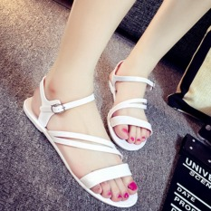 Sexy Woman Flat Roman Sandals Slip Casual Beach Sandals Slippers-White
