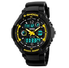 Shock Men's Watches Men Analog Digital Men's Watch Sport Quartz Wristwatch PU Watchband Water Resistant Clock Brand (Yellow)