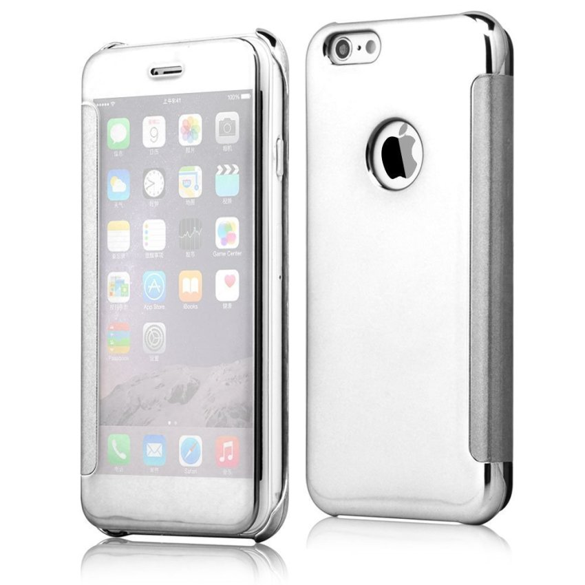 Shockproof Luxury Flip Mirror Hard Clear Slim Cover for iPhone 6 Silver (Intl)