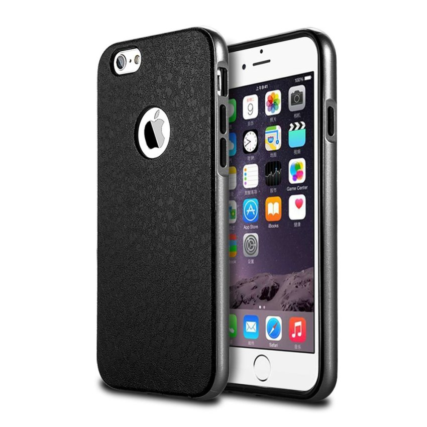 Silicone Metal Frame + Hard PC Hybrid Armor Slim Logo Case for iPhone 5 5S 5G Gray (Intl)