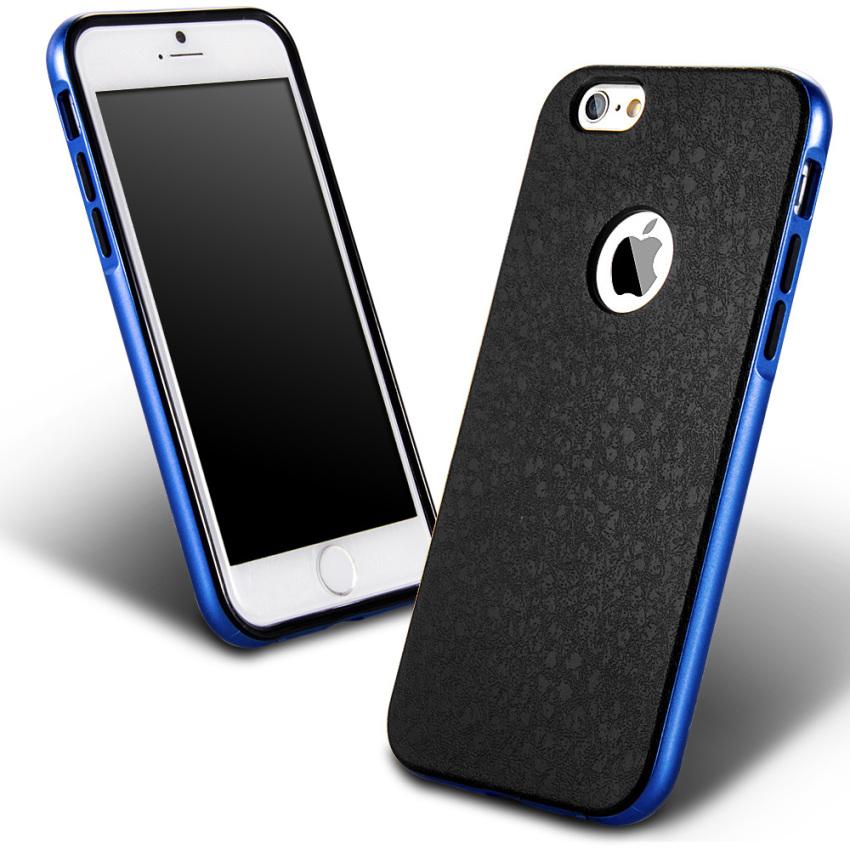 Silicone Metal Frame + Hard PC Hybrid Armor Slim Logo Case for Iphone 5 5S 5G RoyalBlue (Intl)