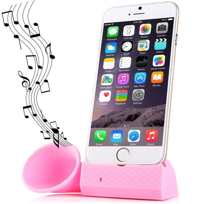 Silicone Phone Horn Stand for iPhone 6/6/Plus/5/5S/5C/4/4S (Pink) (Intl)